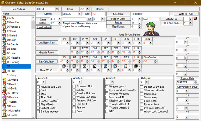 character screen